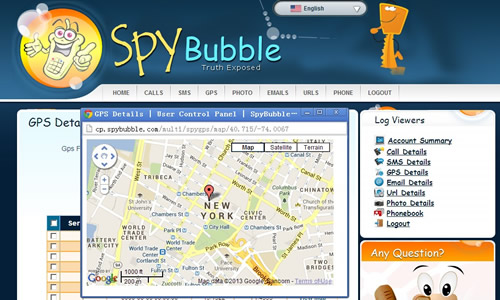 SpyBubble Control Panel