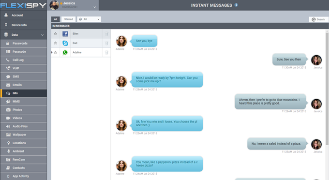 view their instant messages