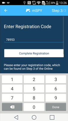 enter the mspy registration code