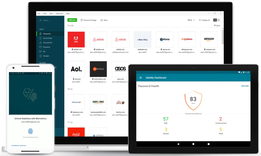 Dashlane interface